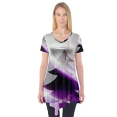 Purple Christmas Tree Short Sleeve Tunic