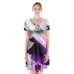 Purple Christmas Tree Short Sleeve V-neck Flare Dress