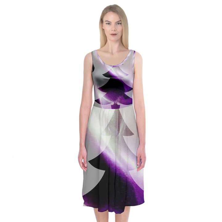 Purple Christmas Tree Midi Sleeveless Dress