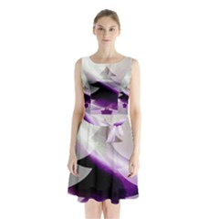 Purple Christmas Tree Sleeveless Chiffon Waist Tie Dress