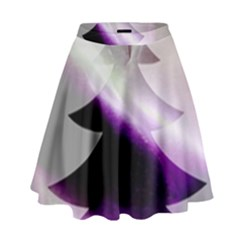 Purple Christmas Tree High Waist Skirt