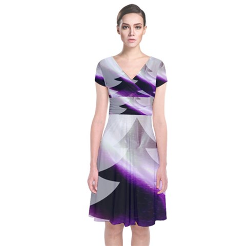 Purple Christmas Tree Short Sleeve Front Wrap Dress