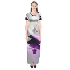 Purple Christmas Tree Short Sleeve Maxi Dress