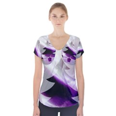 Purple Christmas Tree Short Sleeve Front Detail Top