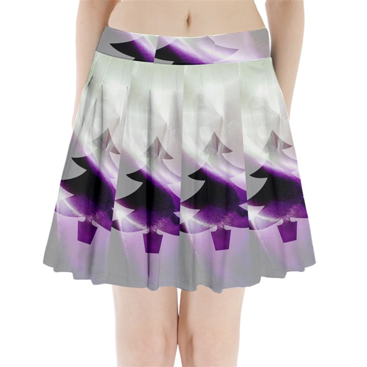 Purple Christmas Tree Pleated Mini Skirt