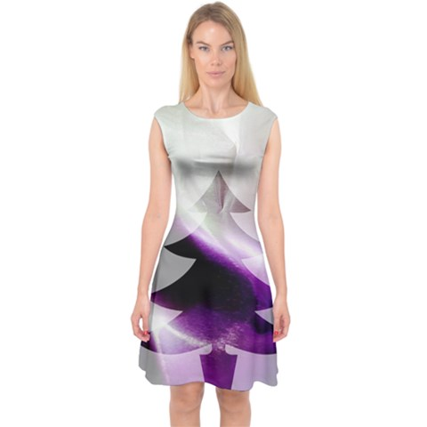 Purple Christmas Tree Capsleeve Midi Dress
