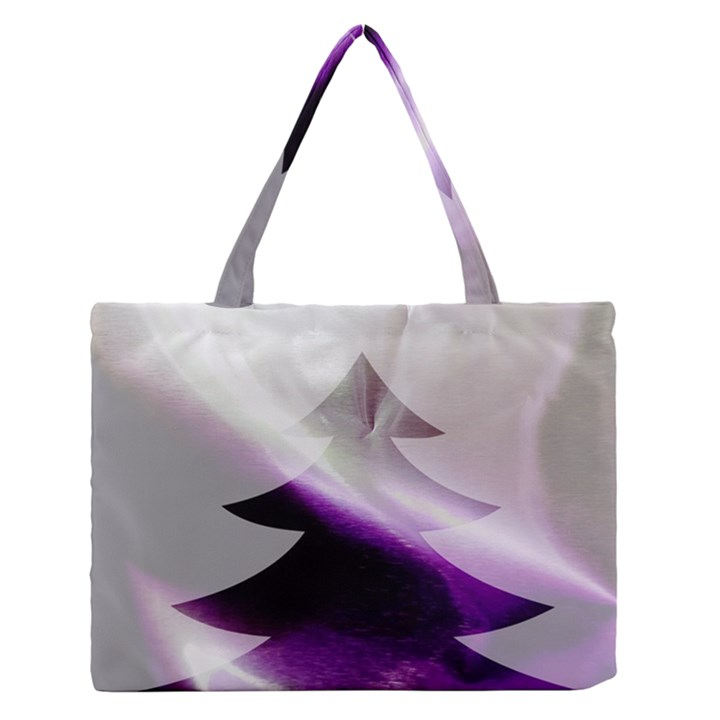 Purple Christmas Tree Medium Zipper Tote Bag
