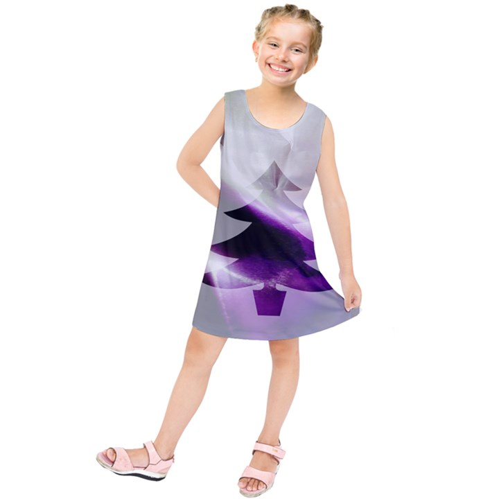 Purple Christmas Tree Kids  Tunic Dress