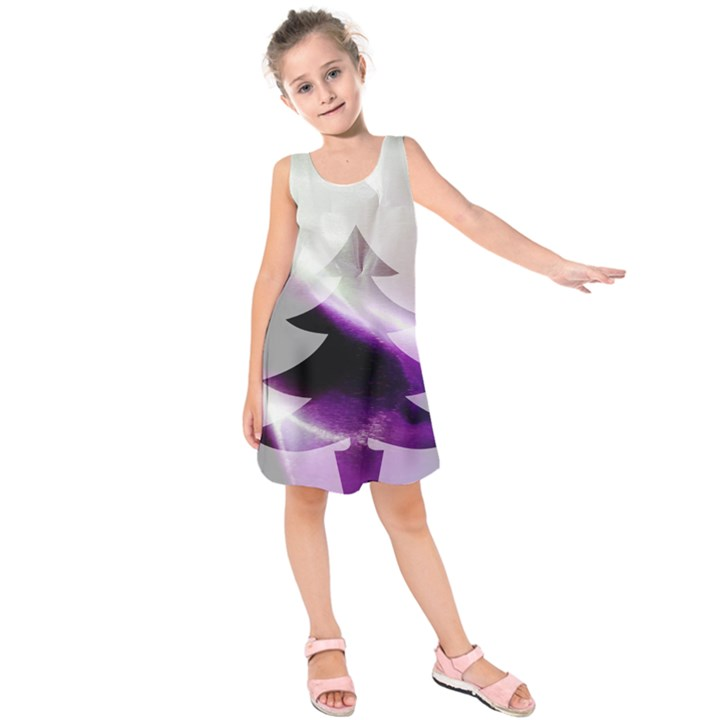 Purple Christmas Tree Kids  Sleeveless Dress