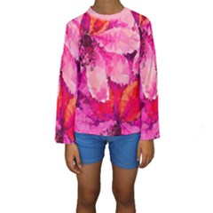 Geometric Magenta Garden Kids  Long Sleeve Swimwear