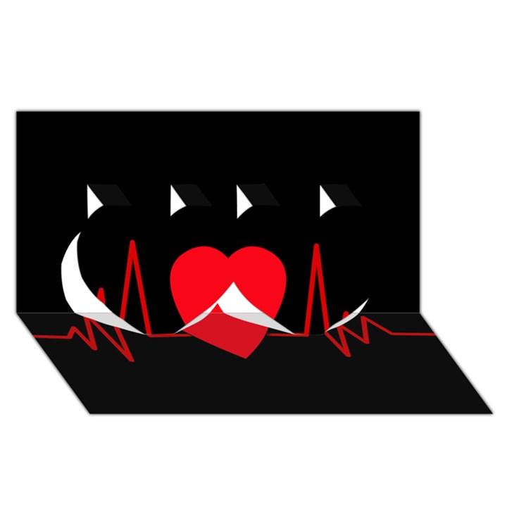 Hart bit Twin Hearts 3D Greeting Card (8x4)