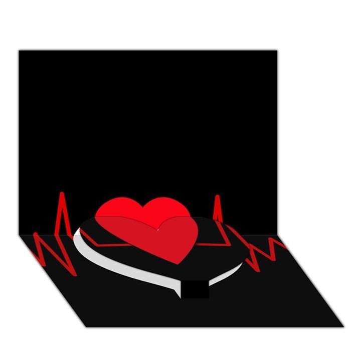 Hart bit Heart Bottom 3D Greeting Card (7x5)