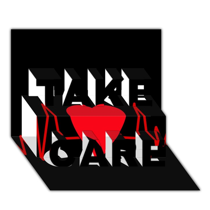 Hart bit TAKE CARE 3D Greeting Card (7x5)