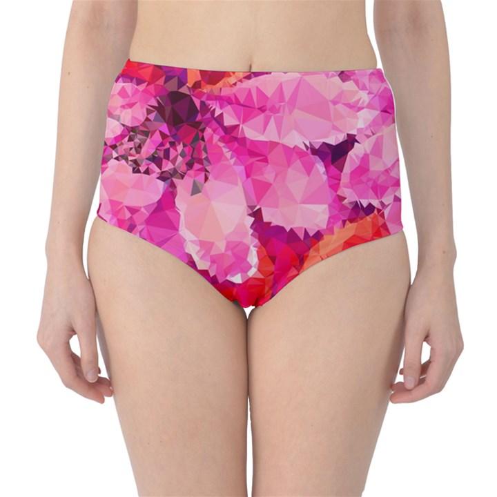 Geometric Magenta Garden High-Waist Bikini Bottoms