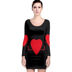 Hart bit Long Sleeve Bodycon Dress
