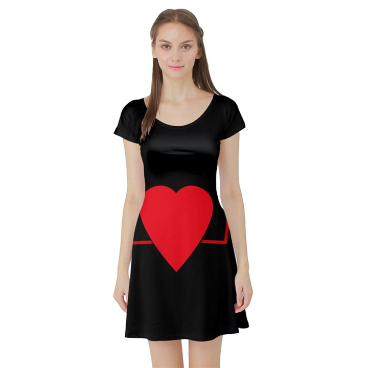 Hart bit Short Sleeve Skater Dress