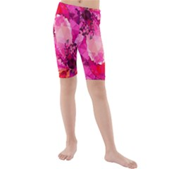 Geometric Magenta Garden Kids  Mid Length Swim Shorts