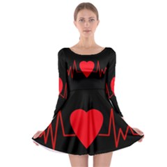 Hart bit Long Sleeve Skater Dress