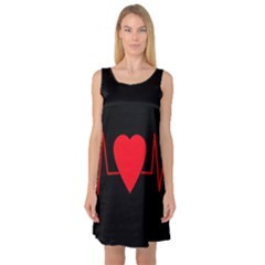 Hart bit Sleeveless Satin Nightdress
