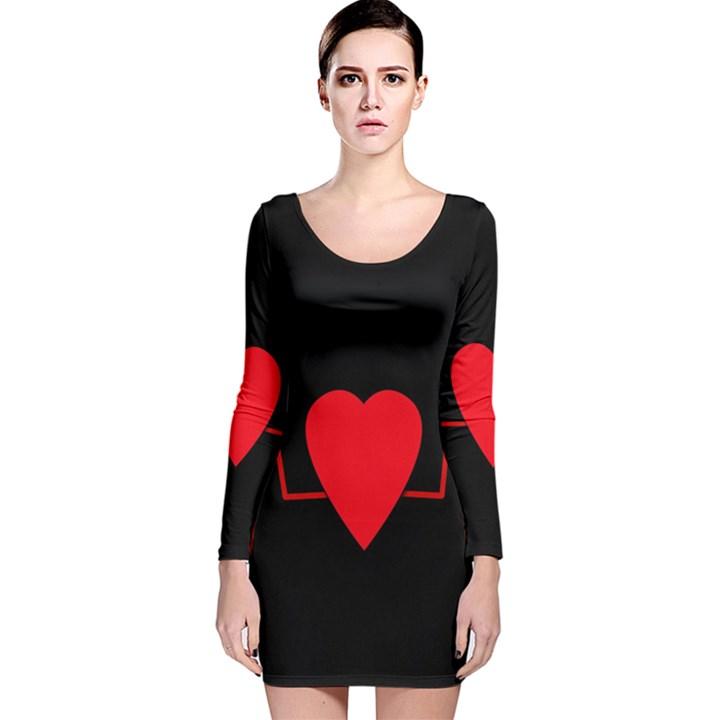 Hart bit Long Sleeve Velvet Bodycon Dress