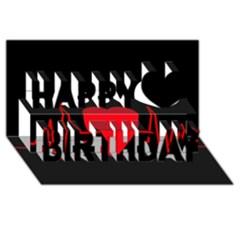 Hart bit Happy Birthday 3D Greeting Card (8x4)