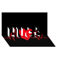 Hart bit HUGS 3D Greeting Card (8x4)