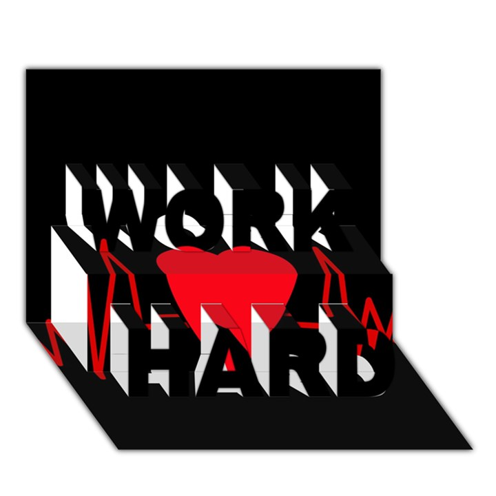 Hart bit WORK HARD 3D Greeting Card (7x5)