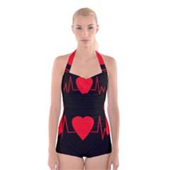 Hart Bit Boyleg Halter Swimsuit