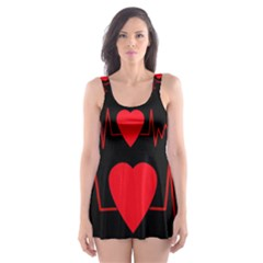 Hart bit Skater Dress Swimsuit