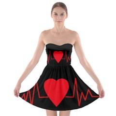 Hart bit Strapless Bra Top Dress
