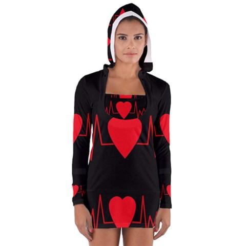 Hart bit Women s Long Sleeve Hooded T-shirt