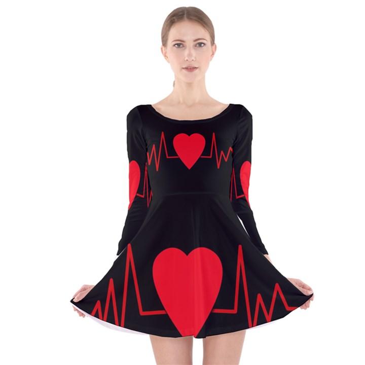 Hart bit Long Sleeve Velvet Skater Dress