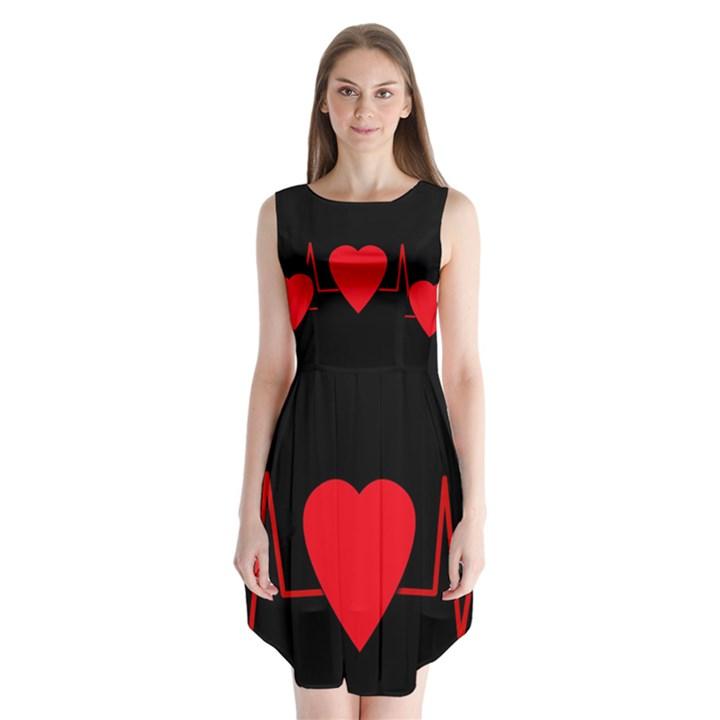 Hart bit Sleeveless Chiffon Dress
