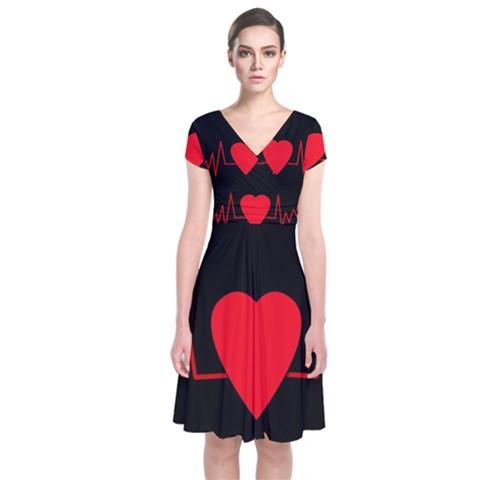 Hart bit Short Sleeve Front Wrap Dress