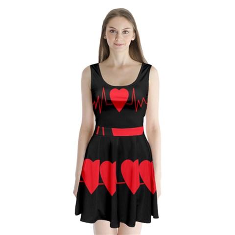 Hart bit Split Back Mini Dress
