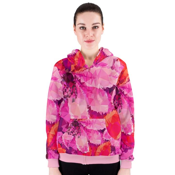 Geometric Magenta Garden Women s Zipper Hoodie