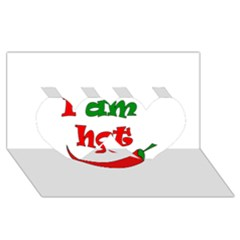 I am hot  Twin Hearts 3D Greeting Card (8x4)