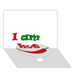 I am hot  Heart Bottom 3D Greeting Card (7x5)