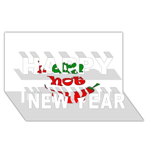 I am hot  Happy New Year 3D Greeting Card (8x4)