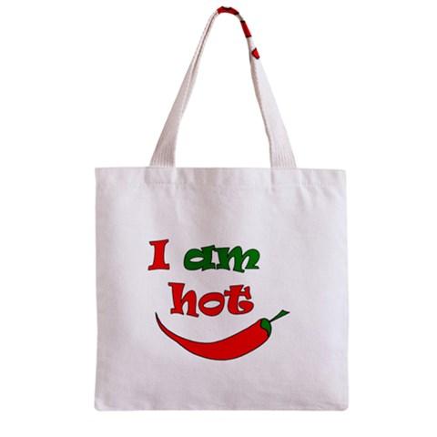 I am hot  Zipper Grocery Tote Bag