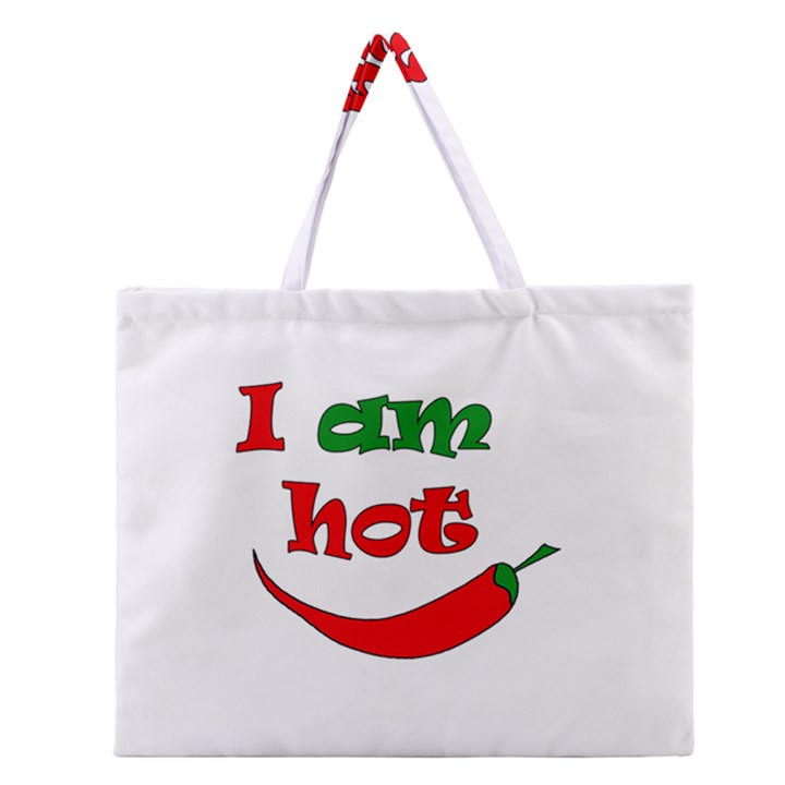 I am hot  Zipper Large Tote Bag