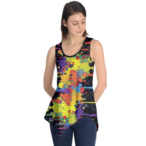 Crazy Multicolored Double Running Splashes Tunic
