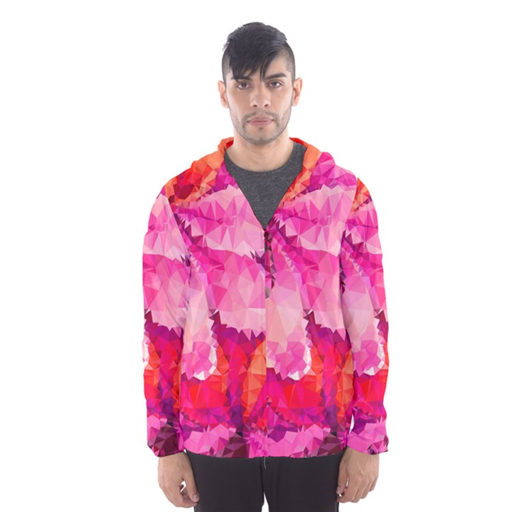 Geometric Magenta Garden Hooded Wind Breaker (Men)