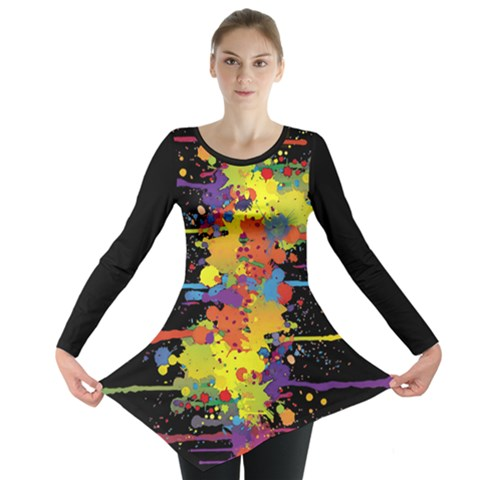 Crazy Multicolored Double Running Splashes Long Sleeve Tunic