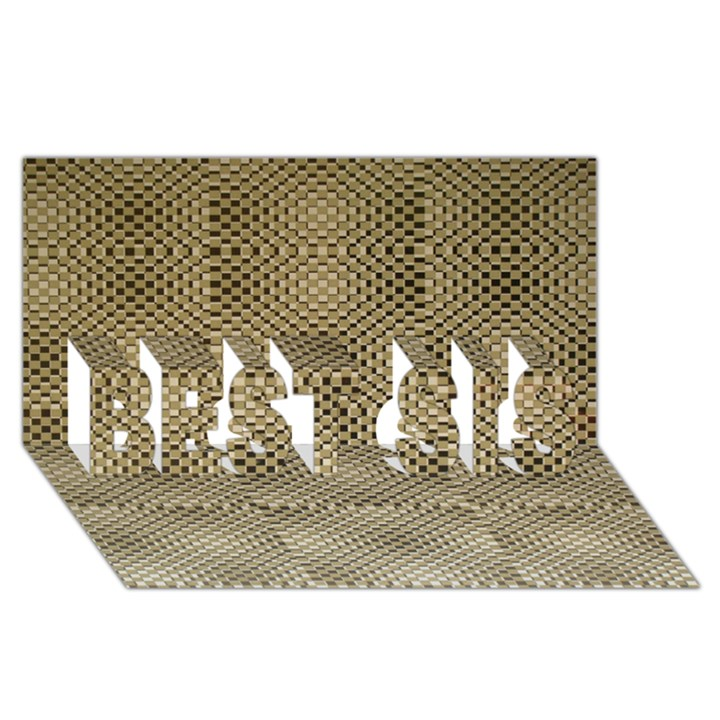 Fashion Style Glass Pattern BEST SIS 3D Greeting Card (8x4)