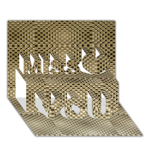 Fashion Style Glass Pattern Miss You 3D Greeting Card (7x5)