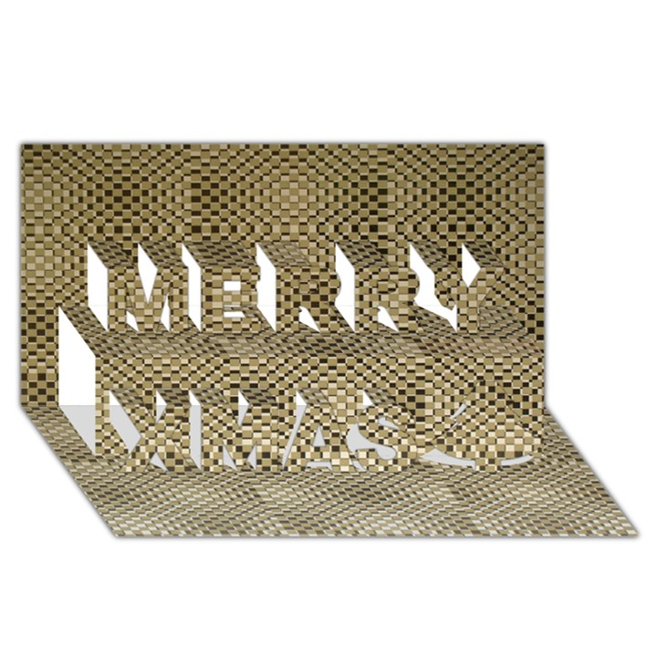 Fashion Style Glass Pattern Merry Xmas 3D Greeting Card (8x4)
