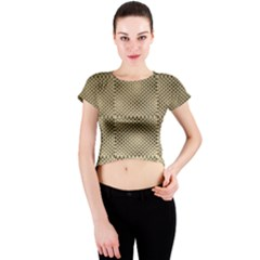 Fashion Style Glass Pattern Crew Neck Crop Top