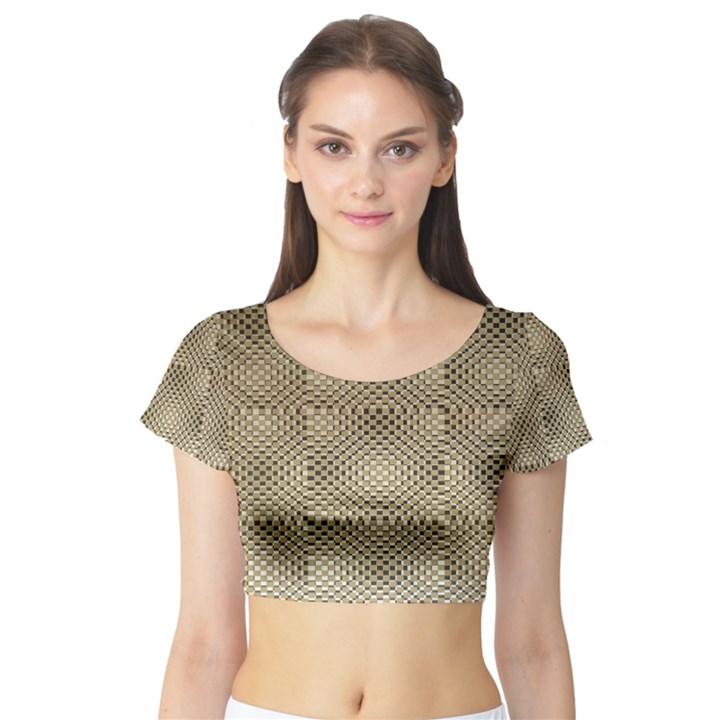 Fashion Style Glass Pattern Short Sleeve Crop Top (Tight Fit)
