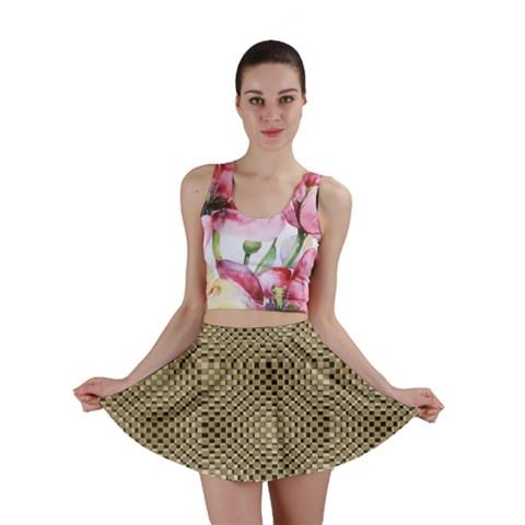 Fashion Style Glass Pattern Mini Skirt